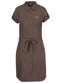 Hnedé dámske ľanové košeľové šaty BUSHMAN Montana