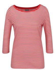Krémovo-červené pruhované tričko s 3/4 rukávom VERO MODA Marley