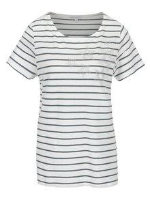 Zeleno-krémové pruhované tričko s kamínkovou aplikací Gina Laura