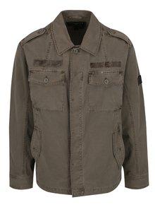 Khaki pánská lehká bunda s nášivkou BUSHMAN Detroit