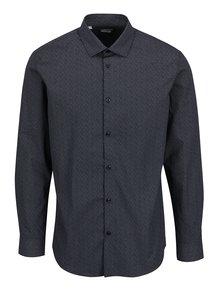 Tmavomodrá vzorovaná košeľa Selected Homme One New