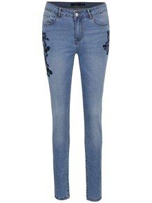 Modré slim fit džíny s výšivkami růží VERO MODA Seven
