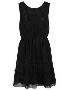 Čierne šaty s lesklými detailmi a volánom VERO MODA Lea