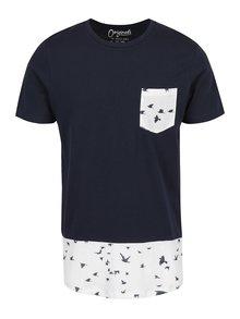 Tricou albastru cu  print pasari Jack & Jones Marvin