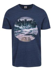 Modré žíhané triko s potiskem Jack & Jones Wired