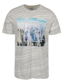 Tricou gri cu ungi si print Jack & Jones Wired