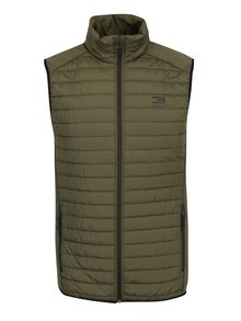 Vestă kaki matlasată impermeabilă Jack & Jones Tech  Multi Body Warmer