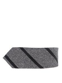 Sivá hodvábna pruhovaná kravata Jack & Jones Premium Costa