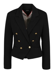 Čierne sako s gombíkmi v zlatej farbe VERO MODA Selma