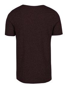 Vínové melírované basic tričko s prímesou ľanu Jack y Jones Randy