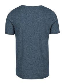 Modré žíhané basic tričko s příměsí lnu Jack & Jones Randy