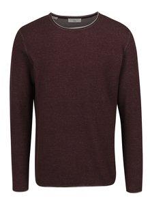Vínový tenký melírovaný sveter Selected Homme Klop