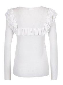 Bílý lehký svetr s volánky VILA Lost
