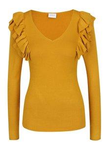 Žlutý lehký svetr s volánky VILA Lost