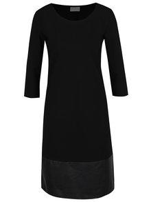 Černé šaty s koženkovým detailem VILA Ally
