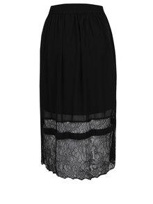 Čierna midi sukňa s čipkovanými detailmi VILA Dede