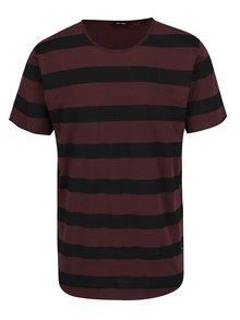 Vínové triko s černými pruhy ONLY & SONS Hako