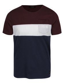 Modro-vínové triko s krémovým pruhem ONLY & SONS Anatolie