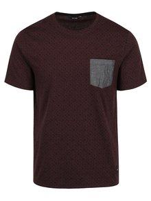 Vínové vzorované triko s kapsou ONLY & SONS Arthur