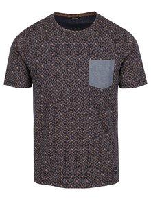 Tmavomodré vzorované tričko s vreckom ONLY & SONS Arthur
