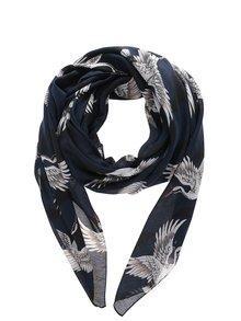 Tmavě modrý šátek s motivem ptáků ONLY Bella