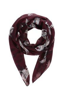 Vínový šátek s motivem ptáků ONLY Bella