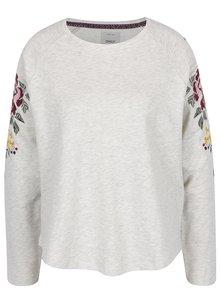 Bluză gri melanj cu broderie florală ONLY Darma