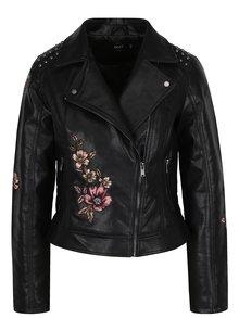 Černý koženkový křivák s květovanými výšivkami ONLY Kate