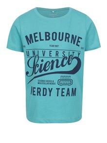Tyrkysové chlapčenské tričko s potlačou Name it Victorian