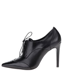 Čierne kožené topánky na podpätku Högl