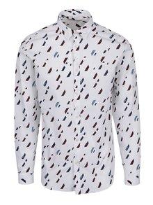 Biela vzorovaná slim fit košeľa Jack & Jones Premium Geometric Rain