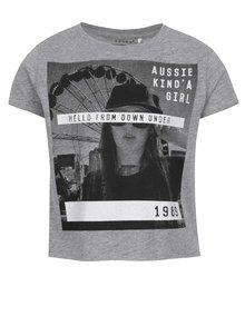 Sivé dievčenské skrátené tričko s potlačou name it Nsis