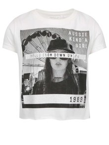 Krémové dievčenské tričko s potlačou name it Nsis