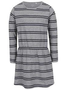 Sivé pruhované dievčenské šaty name it Velvet