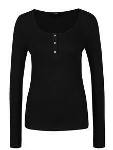 Černé tričko s knoflíčky VERO MODA Gaby