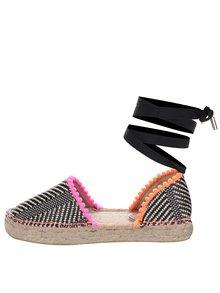 Béžovo-čierne vzorované espadrilky s farebnými detailmi Miss KG Dizzy