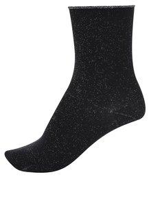 Čierne ponožky s odleskami v striebornej farbe Selected Femme Lucy
