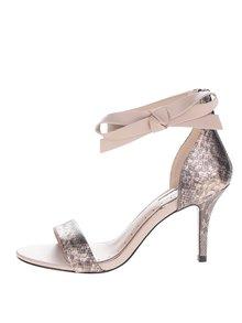 Béžové sandálky na jehlovém podpatku s hadím vzorem Miss KG Gabby