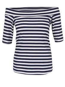 Krémovo-modré pruhované tričko s lodičkovým výstrihom ZOOT