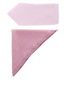 Set cravată și batistă roz Burton Menswear London cu model discret