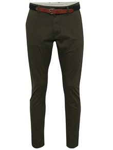 Pantaloni chino verde inchis cu curea - Selected Homme Yard