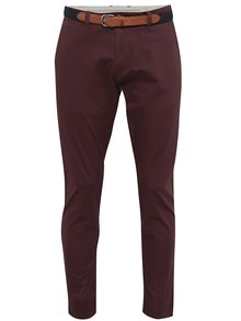 Vínové chino nohavice Selected Homme Yard