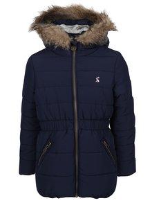 Tmavomodrá dievčenská prešívaná bunda s kapucňou Tom Joule