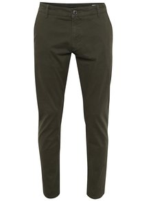 Tmavozelené chino nohavice Selected Homme Three Paris