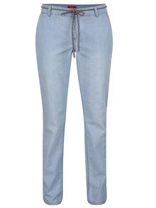 Světle modré dámské chino kalhoty s páskem s.Oliver