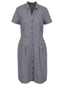 Krémovo-modré kostkované košilové šaty s.Oliver