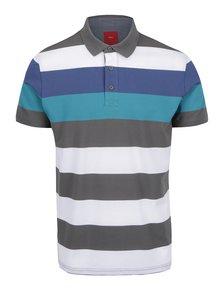 Bílo-šedé pánské pruhované polo triko s.Oliver
