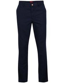 Tmavě modré pánské lněné regular fit chino kalhoty s.Oliver