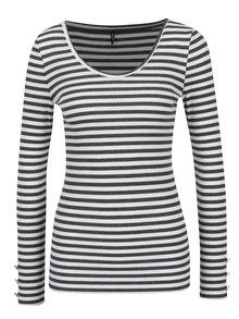 Sivo-krémové pruhované tričko s dlhým rukávom ONLY Olivia