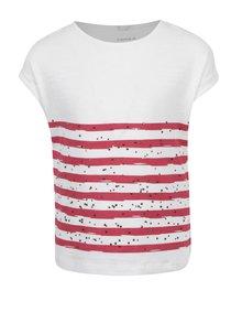 Krémové dievčenské tričko s potlačou a ozdobnými kamienkami name it Hilde